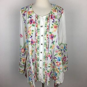 Soft Surroundings White Embroidered Top Medium